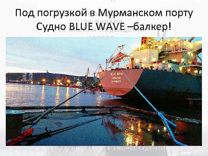 Под погрузкой в Мурманском порту Судно BLUE WAVE –балкер!