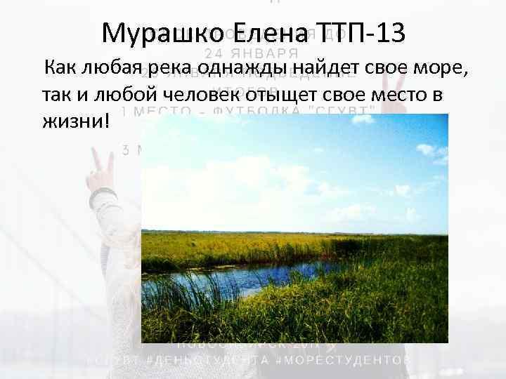 Мурашко Елена ТТП-13 Как любая река однажды найдет свое море, так и любой человек