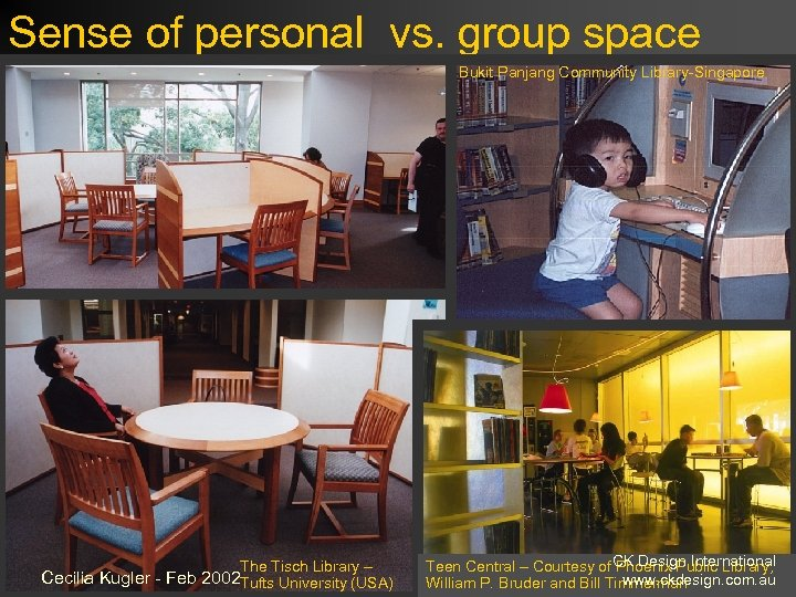 Sense of personal vs. group space Bukit Panjang Community Library-Singapore The Tisch Library –