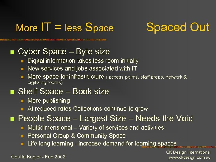 More IT n = less Spaced Out Cyber Space – Byte size n n