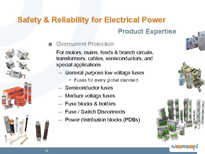 Safety & Reliability for Electrical Power Product Expertise Overcurrent Protection For motors, mains, feeds