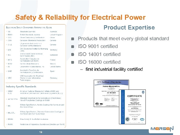 Safety & Reliability for Electrical Power Product Expertise Products that meet every global standard