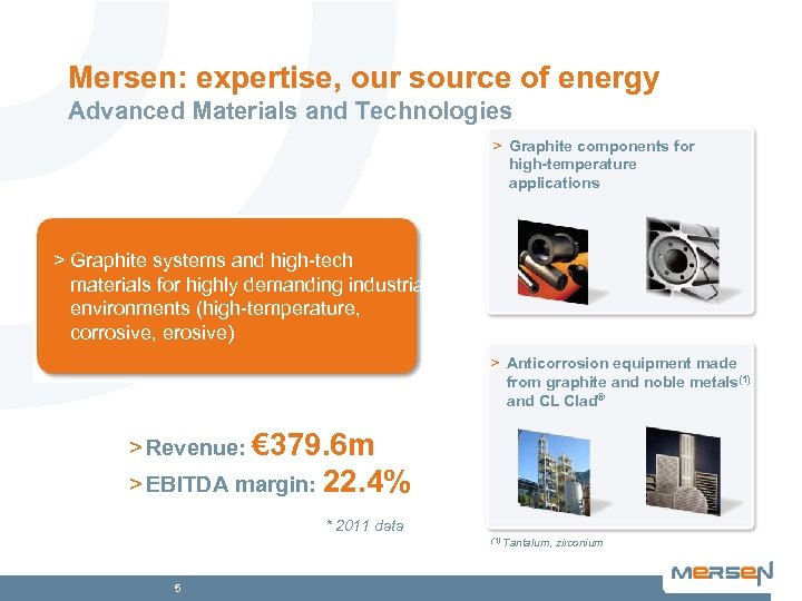 Mersen: expertise, our source of energy Advanced Materials and Technologies > Graphite components for