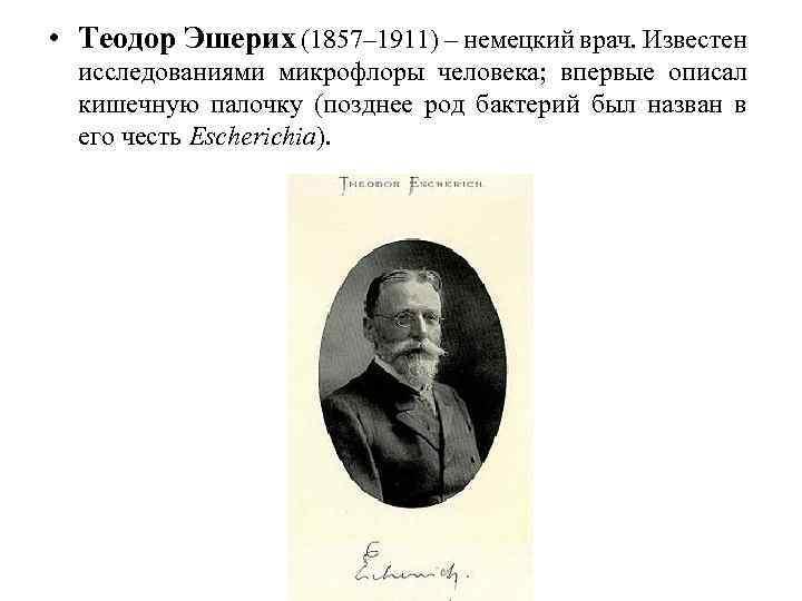 • Теодор Эшерих (1857– 1911) – немецкий врач. Известен исследованиями микрофлоры человека; впервые