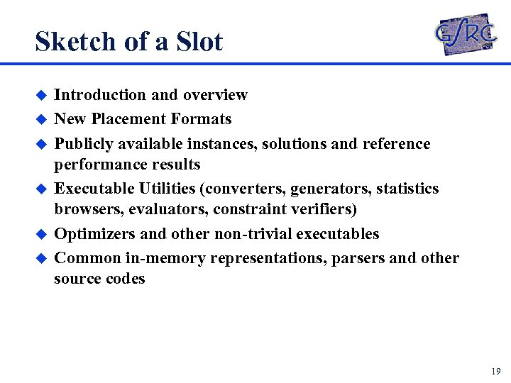Sketch of a Slot u u u Introduction and overview New Placement Formats Publicly