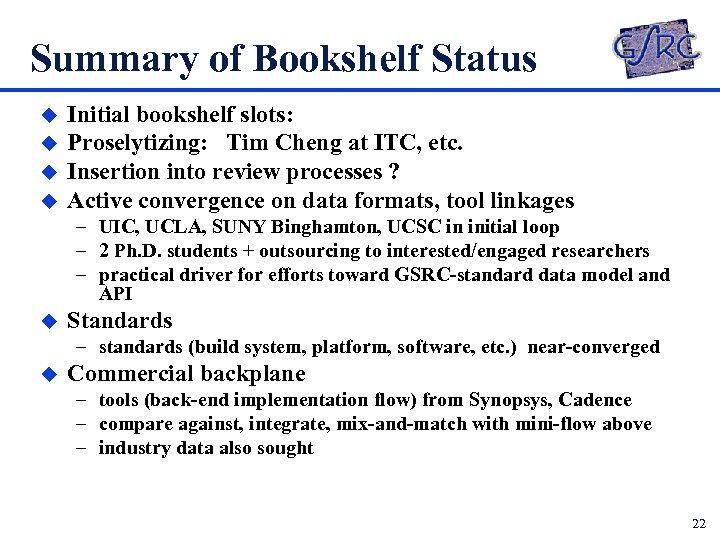Summary of Bookshelf Status u u Initial bookshelf slots: Proselytizing: Tim Cheng at ITC,