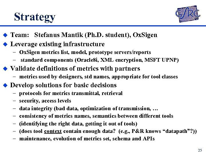 Strategy u u Team: Stefanus Mantik (Ph. D. student), Ox. Sigen Leverage existing infrastructure