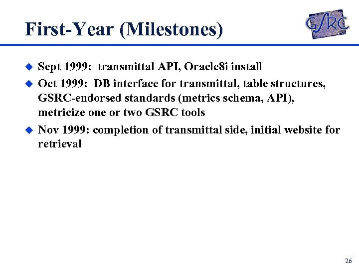 First-Year (Milestones) u u u Sept 1999: transmittal API, Oracle 8 i install Oct