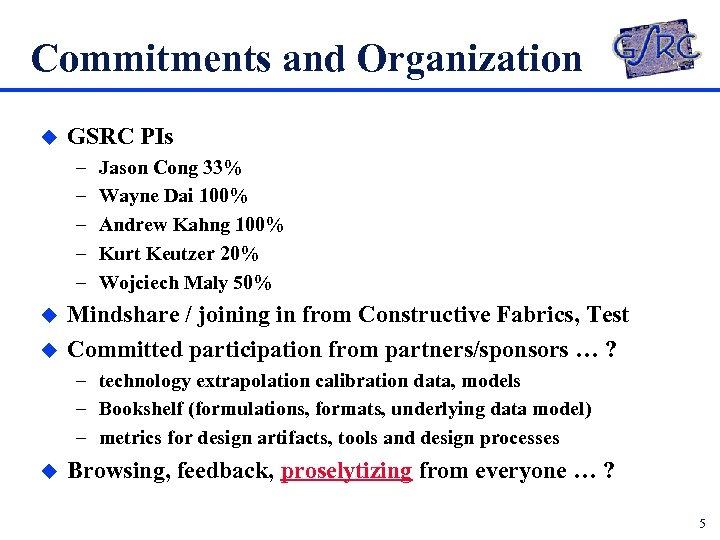 Commitments and Organization u GSRC PIs – – – u u Jason Cong 33%