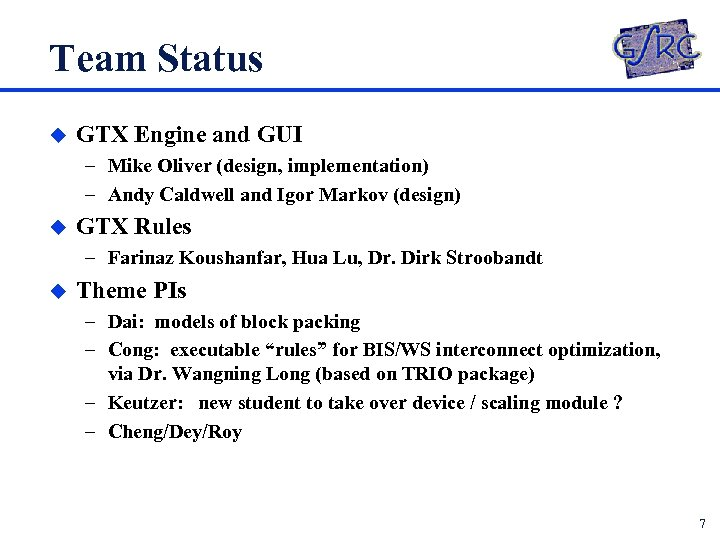 Team Status u GTX Engine and GUI – Mike Oliver (design, implementation) – Andy