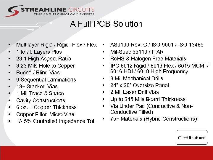 A Full PCB Solution • • • Multilayer Rigid / Rigid- Flex / Flex