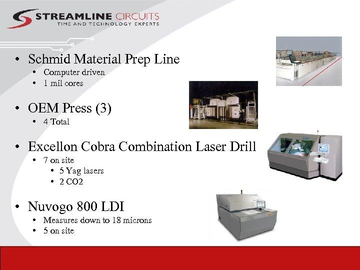 • Schmid Material Prep Line • Computer driven • 1 mil cores •