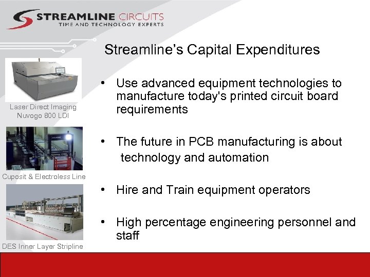 Streamline's Capital Expenditures Laser Direct Imaging Nuvogo 800 LDI • Use advanced equipment