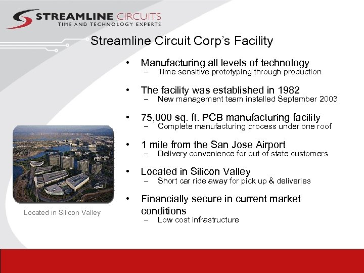 Streamline Circuit Corp's Facility • • The facility was established in 1982 • 75,