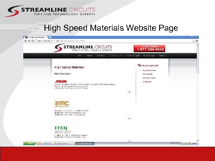 High Speed Materials Website Page