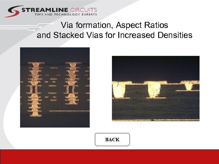 Via formation, Aspect Ratios and Stacked Vias for Increased Densities BACK 44