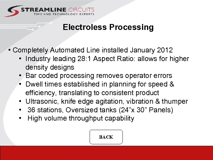 Electroless Processing • Completely Automated Line installed January 2012 • Industry leading 28: 1