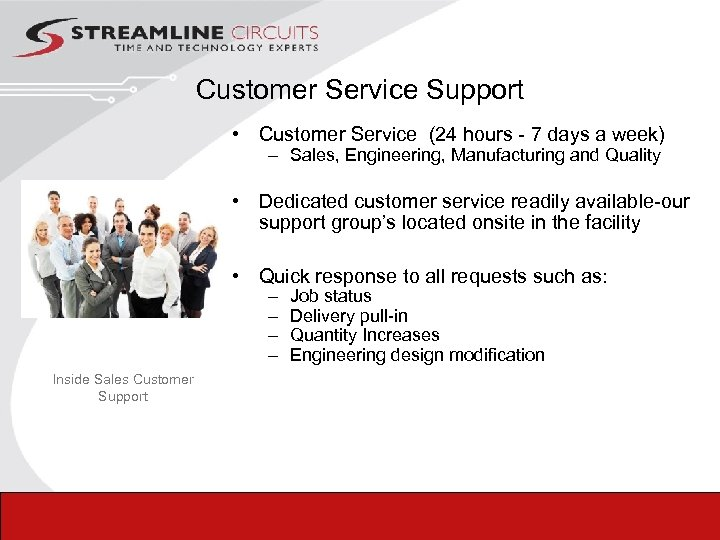 Customer Service Support • Customer Service (24 hours - 7 days a week) –