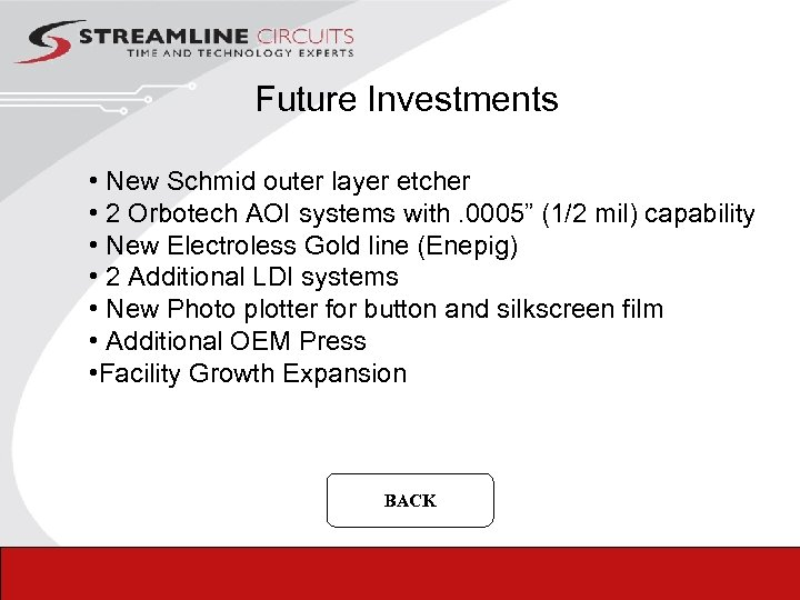 Future Investments • New Schmid outer layer etcher • 2 Orbotech AOI systems with.
