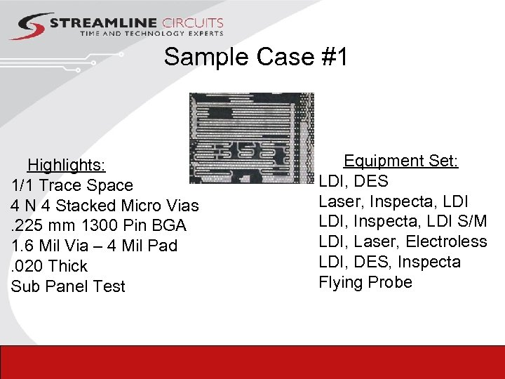 Sample Case #1 Highlights: 1/1 Trace Space 4 N 4 Stacked Micro Vias. 225