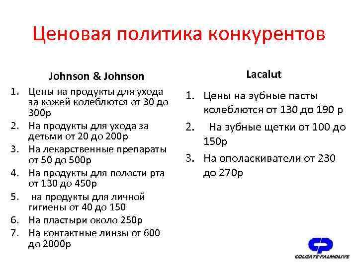 Ценовая политика конкурентов Johnson & Johnson 1. Цены на продукты для ухода за кожей
