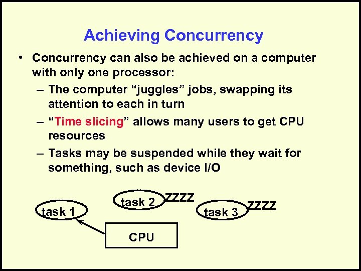 Achieving Concurrency • Concurrency can also be achieved on a computer with only one