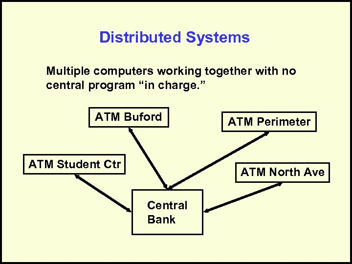 """Distributed Systems Multiple computers working together with no central program """"in charge. """" ATM"""