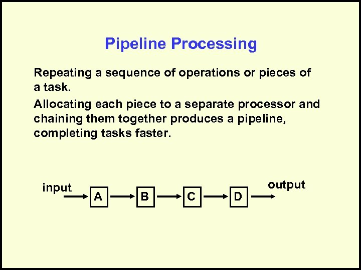 Pipeline Processing Repeating a sequence of operations or pieces of a task. Allocating each