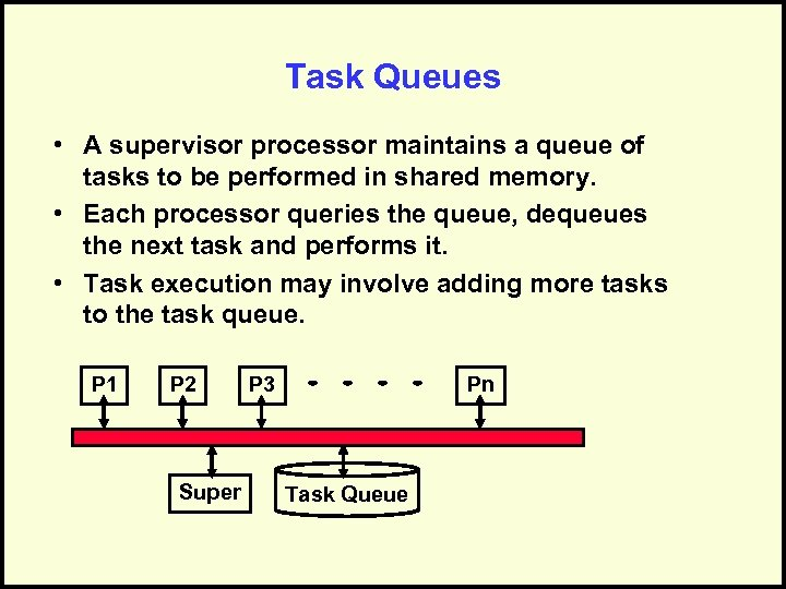 Task Queues • A supervisor processor maintains a queue of tasks to be performed