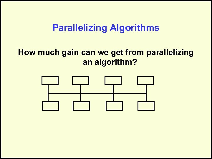 Parallelizing Algorithms How much gain can we get from parallelizing an algorithm?