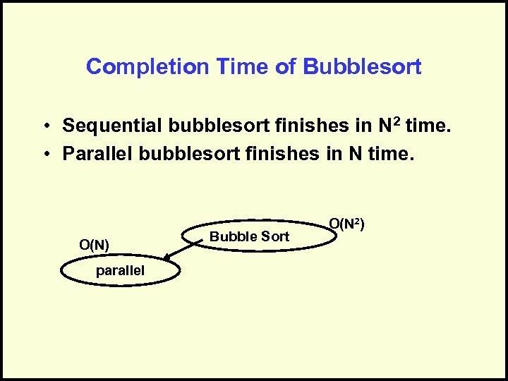 Completion Time of Bubblesort • Sequential bubblesort finishes in N 2 time. • Parallel
