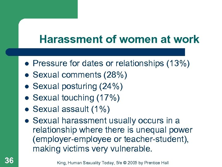 Harassment of women at work l l l 36 Pressure for dates or relationships