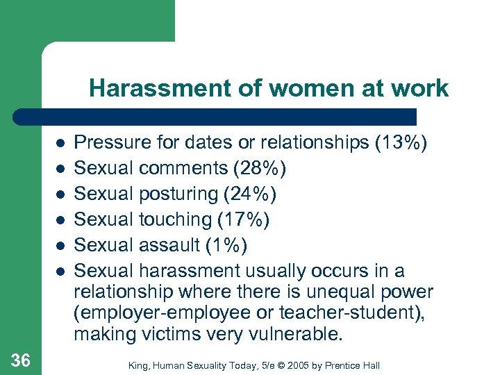 Harassment of women at work l l l 36 Pressure for dates or relationships
