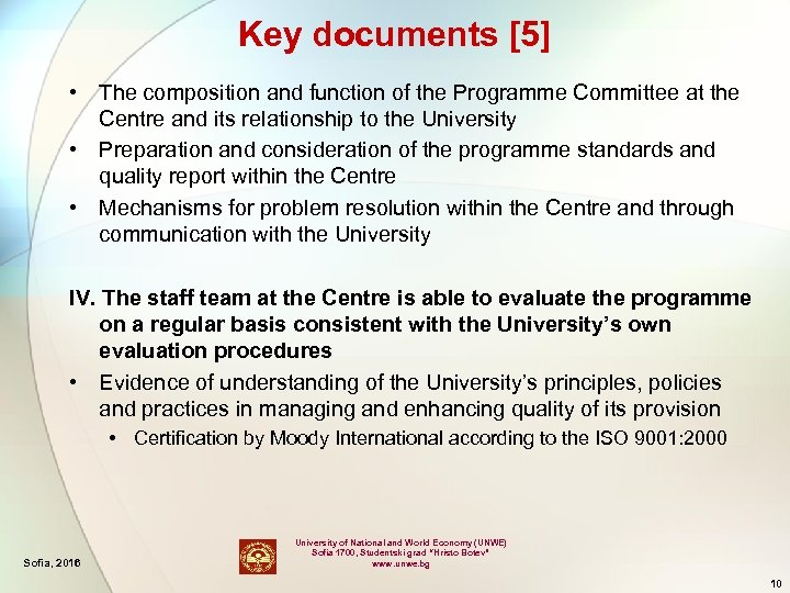 Key documents [5] • The composition and function of the Programme Committee at the