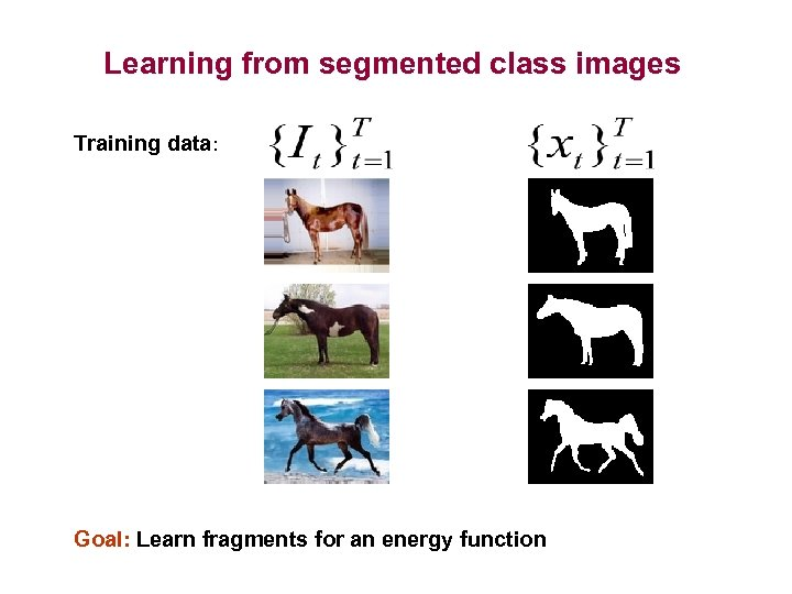 Learning from segmented class images Training data: Goal: Learn fragments for an energy function