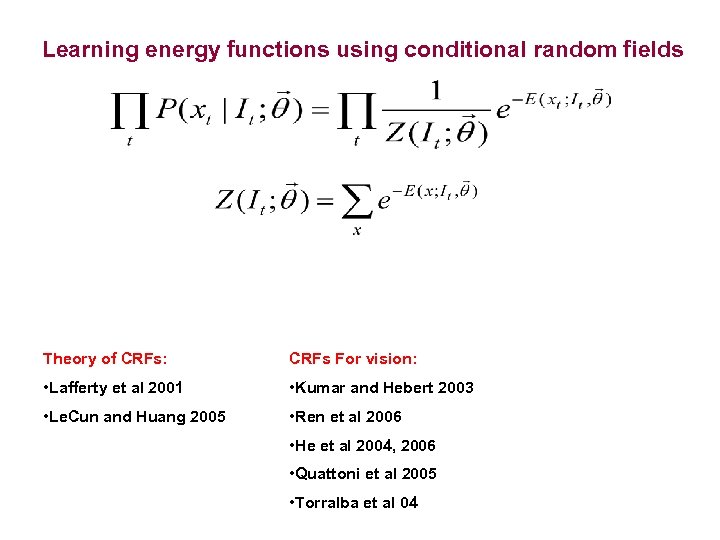 Learning energy functions using conditional random fields Theory of CRFs: CRFs For vision: •