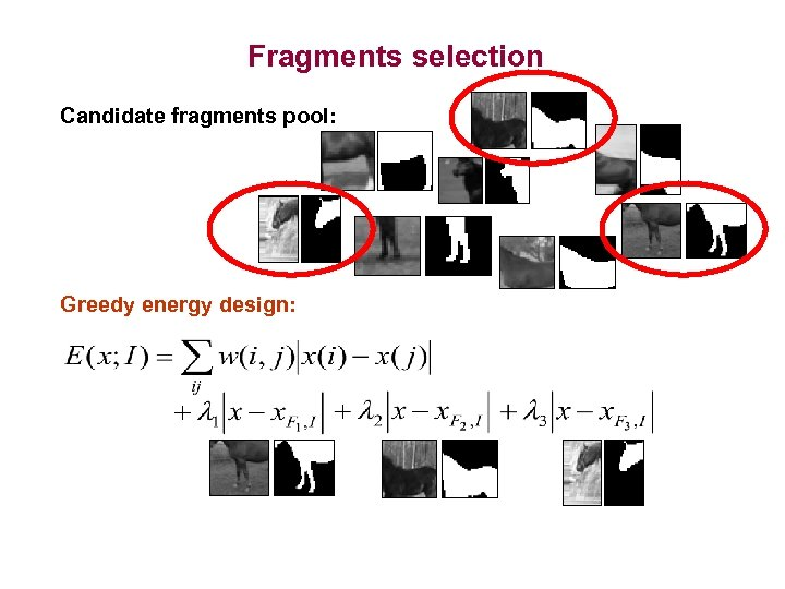 Fragments selection Candidate fragments pool: Greedy energy design: