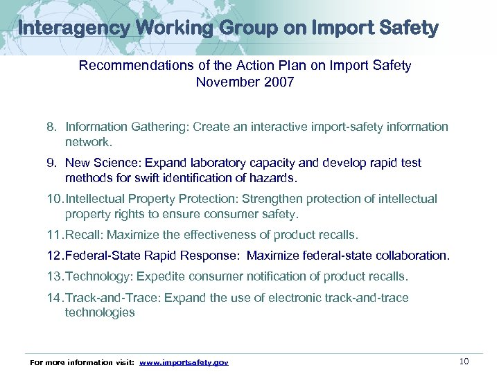 Interagency Working Group on Import Safety Recommendations of the Action Plan on Import Safety
