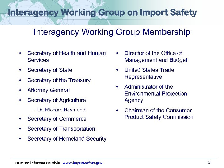 Interagency Working Group on Import Safety Interagency Working Group Membership • Secretary of Health