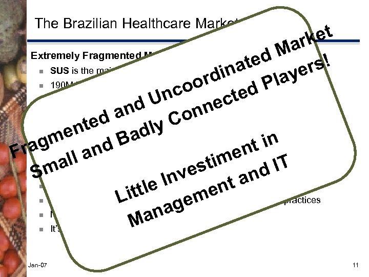 The Brazilian Healthcare Market et ark Extremely Fragmented Market: ~ U$ 90 B/year d