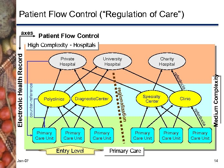 """Patient Flow Control (""""Regulation of Care"""") axes Patient Flow Control University Hospital Charity Hospital"""