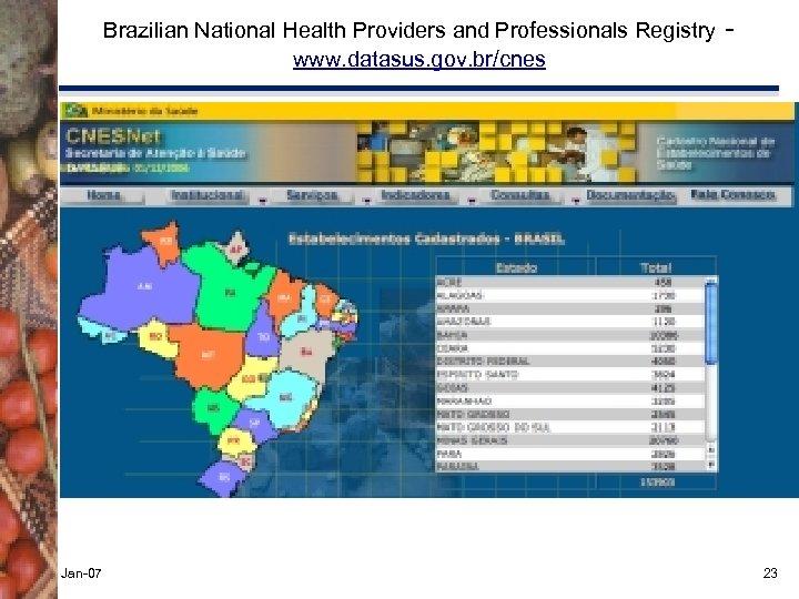 Brazilian National Health Providers and Professionals Registry www. datasus. gov. br/cnes Jan-07 - 23