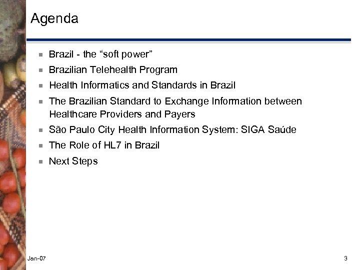 "Agenda ¾ Brazil - the ""soft power"" ¾ Brazilian Telehealth Program ¾ Health Informatics"