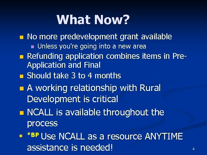 What Now? n No more predevelopment grant available n n n Unless you're going
