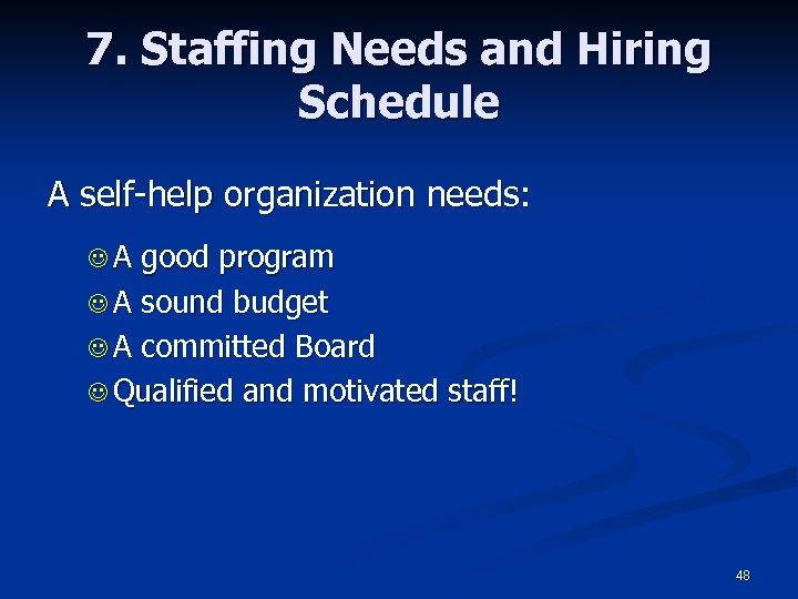 7. Staffing Needs and Hiring Schedule A self-help organization needs: JA good program J