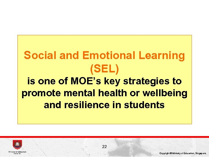 Social and Emotional Learning (SEL) is one of MOE's key strategies to promote mental