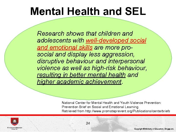 Mental Health and SEL Research shows that children and adolescents with well-developed social and