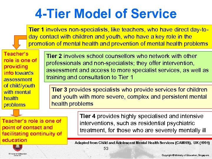 4 -Tier Model of Service Tier 1 involves non-specialists, like teachers, who have direct