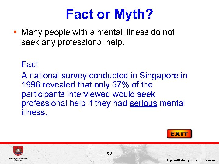 Fact or Myth? § Many people with a mental illness do not seek any