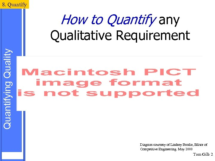 8. Quantify How to Quantify any Quantifying Quality Qualitative Requirement Diagram courtesy of Lindsey
